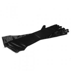 Перчатки длинные атласные, черные