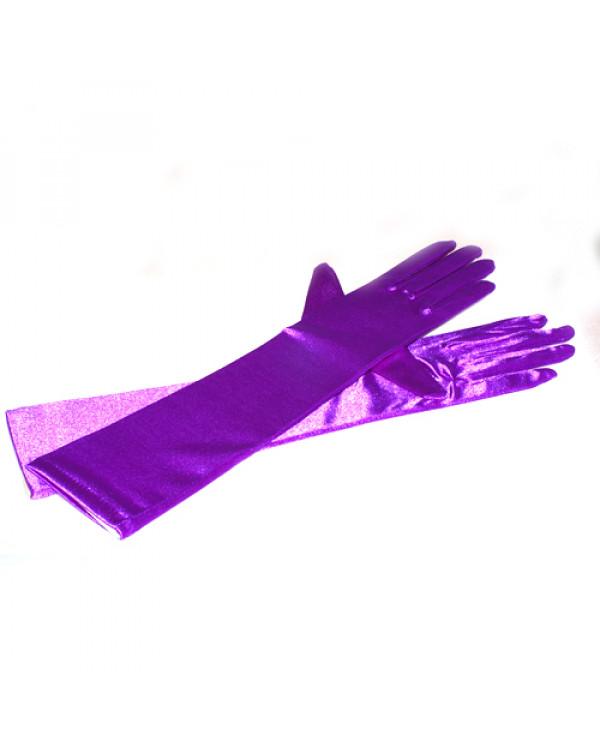 Перчатки длинные атласные, сиреневые