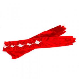 Перчатки длинные атласные, красные с перетяжками