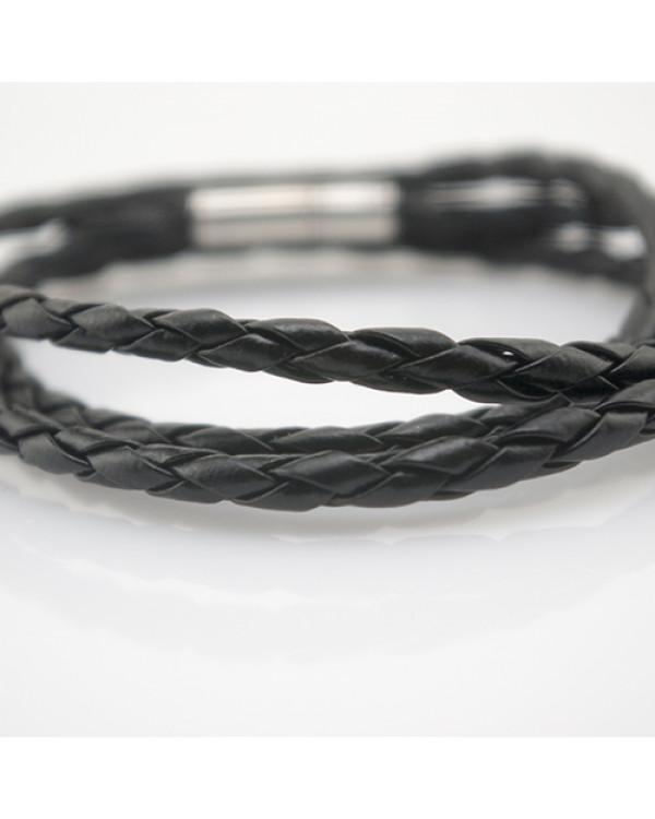 Черный кожаный браслет на руку - модные браслеты дешево!