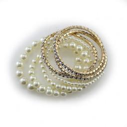 Набор жемчужных браслетов и с кристаллами Grase, 7шт