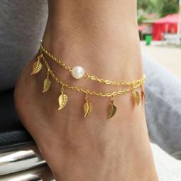 Браслет на ногу Pearl and Leaf