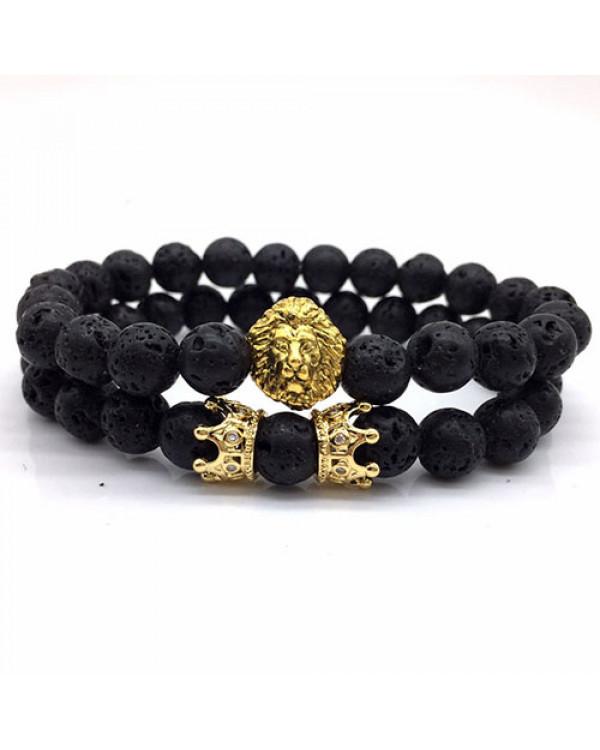 Парные браслеты купить для влюбленных из лавового камня и с шармами просто на Сорока.Ми