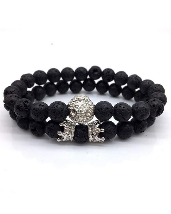 Парные браслеты для влюбленных недорого - лавовый камень и шармы
