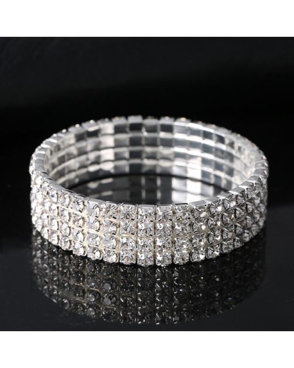 Браслет со стразами четырехрядный Elegant - браслет с камнями для вашего красивого образа