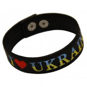 """Кожаный браслет с вышивкой """"Я люблю Україну"""""""