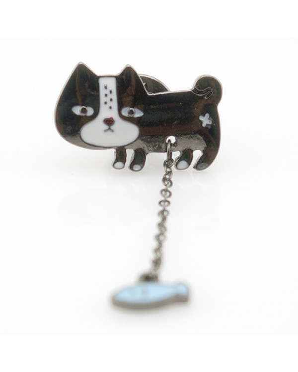 Брошка Чундра - брошь черная кошка со свисающей рыбкой - оригинальная и необычная брошка!