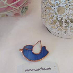 """Брошь из стекла handmade """"Blue bird"""""""