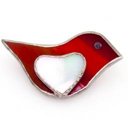 "Брошь из стекла handmade ""Red bird"""