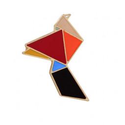 Брошь Птица Оригами