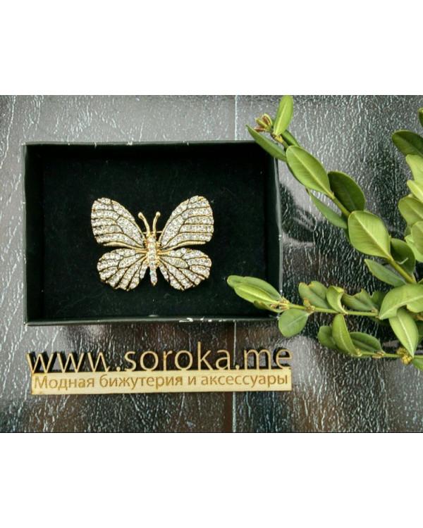 Брошь Красивая бабочка - брошка с искрящимися кристаллами вызывает восторг!