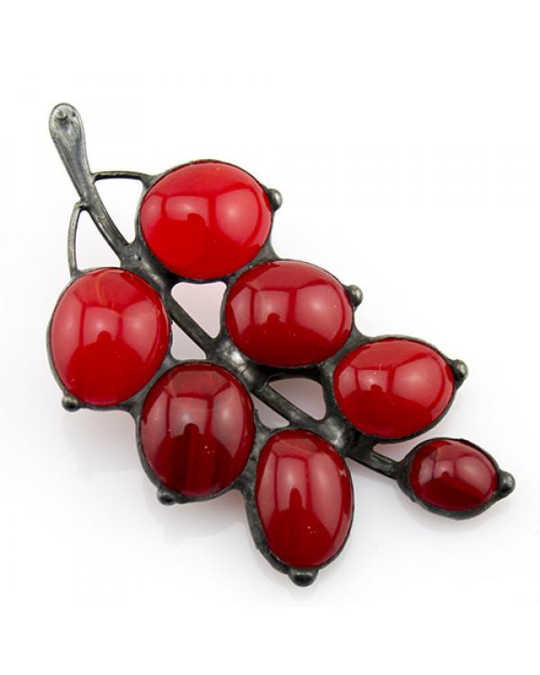 Брошь из стекла handmade Красная ветка - Купить брошь ручной работы так просто! Жми!