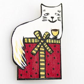 Деревянная брошь Уютный котик