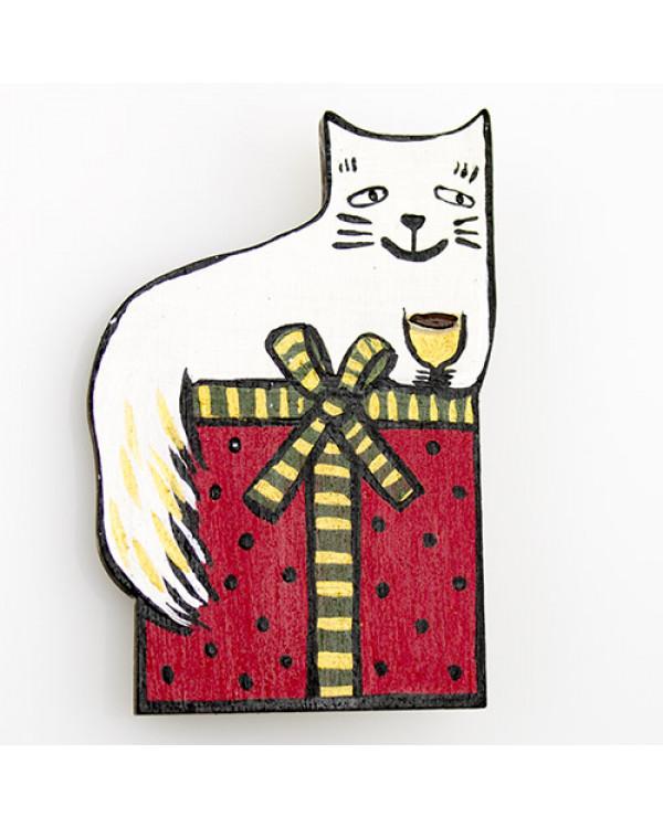 Деревянная брошь кот с ручной росписью от художника - оригинальная бижутерия ждет тебя!