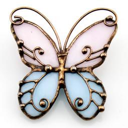 Стеклянная брошь авторская Бабочка