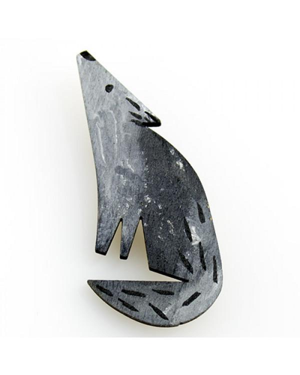 Авторская бижутерия брошь Волк из дерева - эксклюзивная бижутерия Made in UA