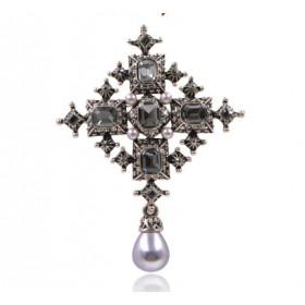 Брошь крест с камнями Эльза