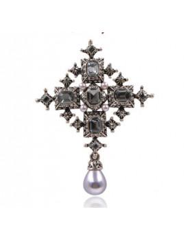 Брошь крест с камнями Эльза уценка