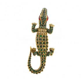 Брошь-кулон крокодил с кристаллами