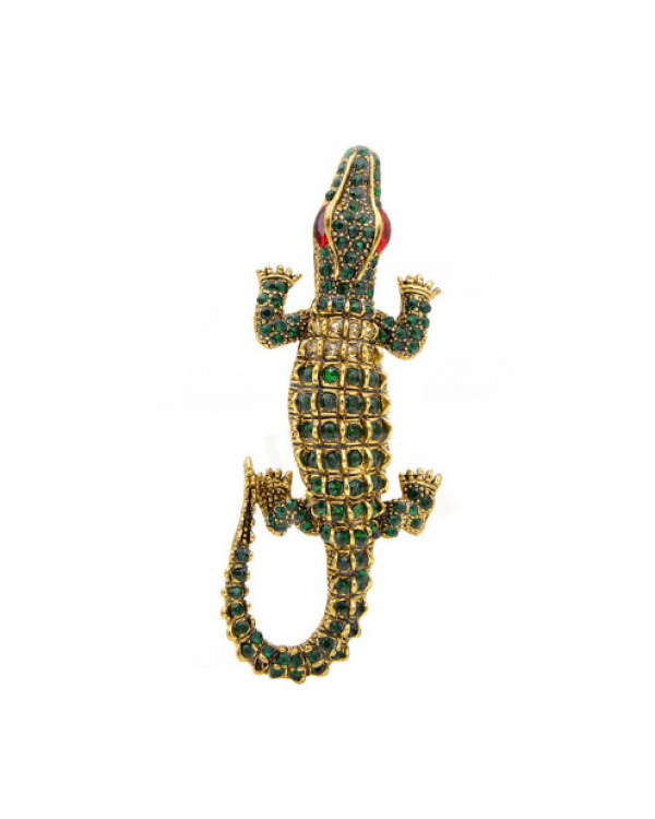Брошка крокодил аллигатор с кристаллами