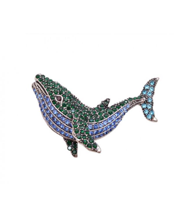 Брошь кулон Кит рыба касатка с кристаллами по супер цене!