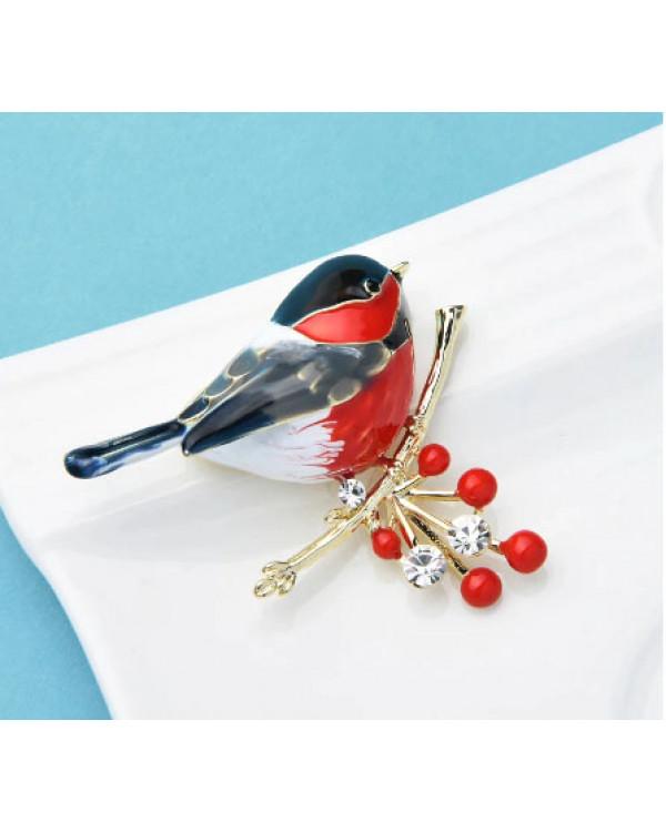 Купить женскую брошь птицу с эмалью красную снегирь недорого легко в 2 клика
