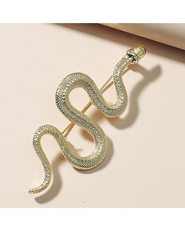 Брошь Змея золотистая