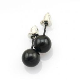 """Серьги пуссеты """"La Perle"""", черные"""