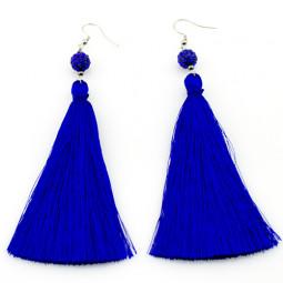 Серьги кисти с бусиной Шамбала, синие