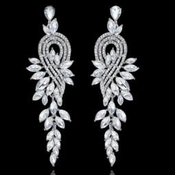 Длинные серьги с кристаллами Elegant