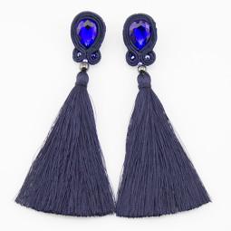 Сутажные серьги кисти Navy Blue