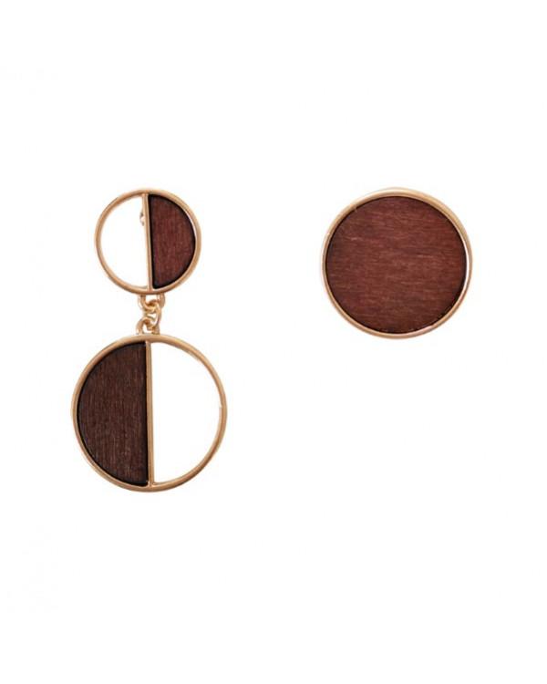 Непарные серьги Wood Art - деревянные серьги бижутерия тренды моды в магазине Сорока.Ми