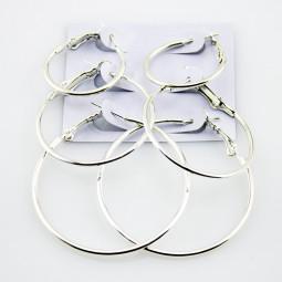 Серьги кольца круглые Серебро-1, 3 пары набор М