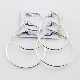 Серьги кольца конго Серебро-2, набор 3 пары Б