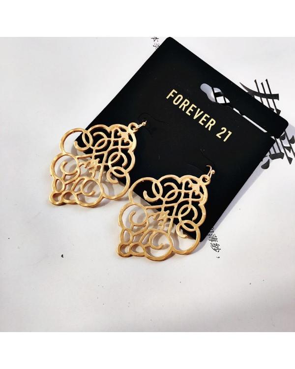 Висячие серьги кружевные из матового золота - смотрятся невероятно!