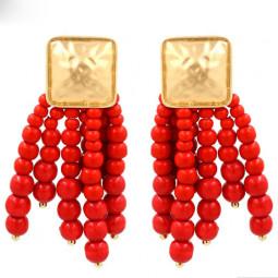 Красные серьги Fashion girl