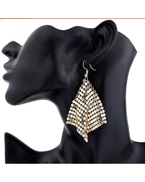 Длинные серьги сетка кольчуга золото  - модная бижутерия по цене опта в магазине Сорока!
