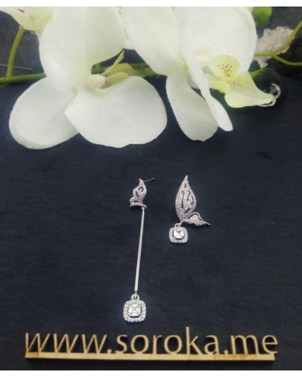 Шикарные асимметричные серьги бабочки, покрытие серебро 925, цирконы