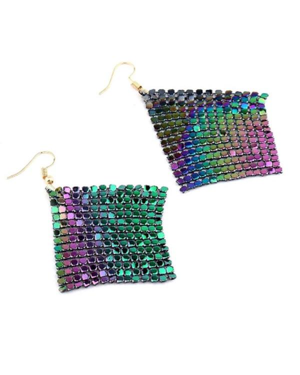 Длинные серьги сетка кольчуга хамелеон  - модная бижутерия по цене опта в магазине Сорока!