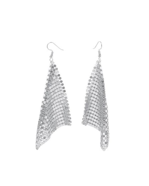 Длинные серьги сетка кольчуга серебро  - модная бижутерия по цене опта в магазине Сорока!