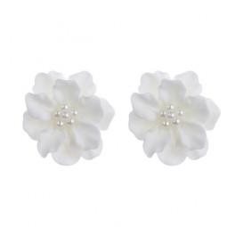 Пуссеты белые Цветы с жемчугом