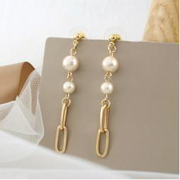 Сережки ланцюг перли