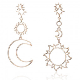 Серьги Луна и Солнце непарные ассиметричные модные