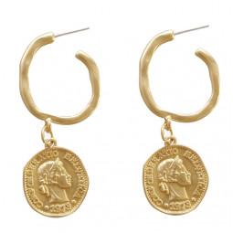 Сережки монети круглі