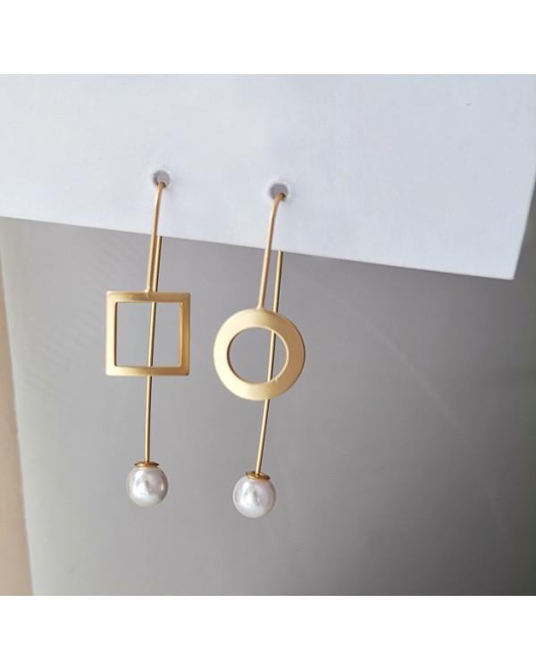 Непарные асимметричные серьги протяжки с жемчугом