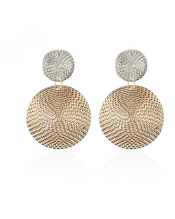 Красивые длинные серьги бижутерия круглые золотисто-серебристые