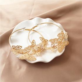 Серьги кольца круглые с бабочками