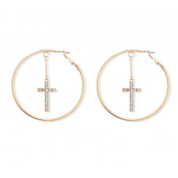 Серьги кольца с подвеской крест, уценка
