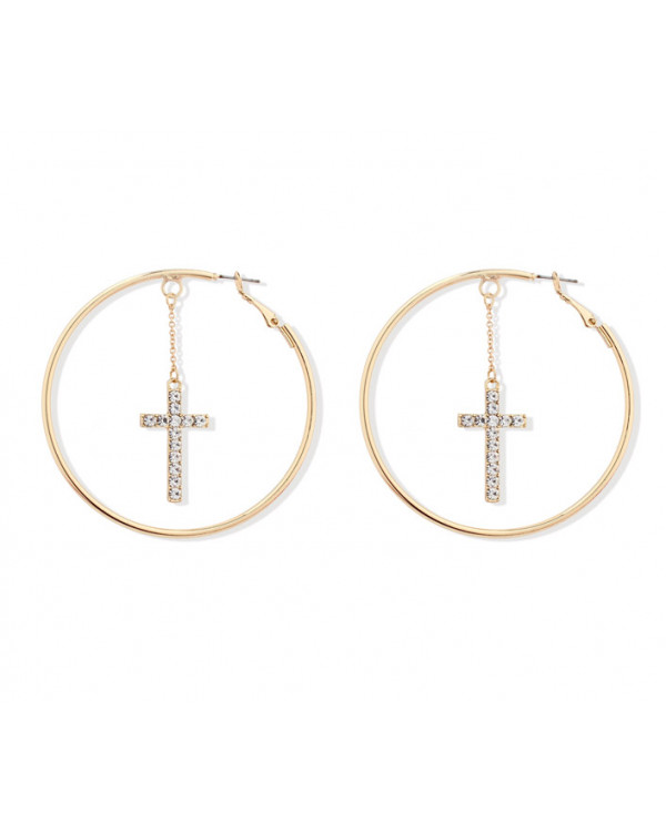 Серьги кольца с подвеской крест