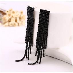 Сережки з камінням чорні китички
